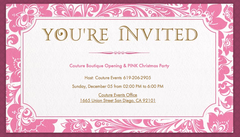 Couture Events Couture Boutique Grand Opening Couture Events – Grand Opening Party Invitations