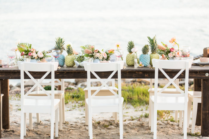 Cavin Elizabeth Tropical Estate Wedding Table Setting White Chairs Pineapple Decor Couture Events