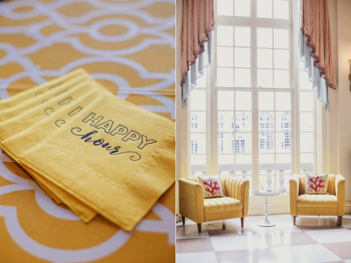 happy break day two yellow custom napkins bright yellow reception