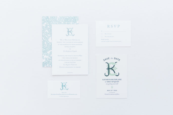 wedding invitation suite save the date green white