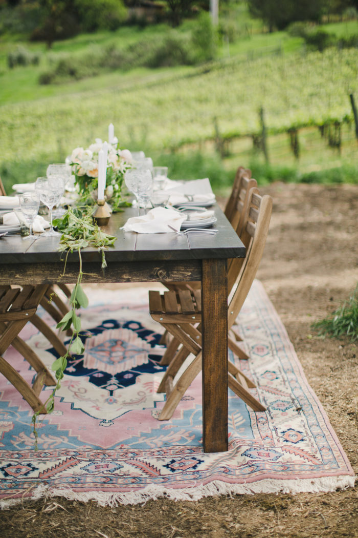 couture events sf launch party vintage rug tablescape