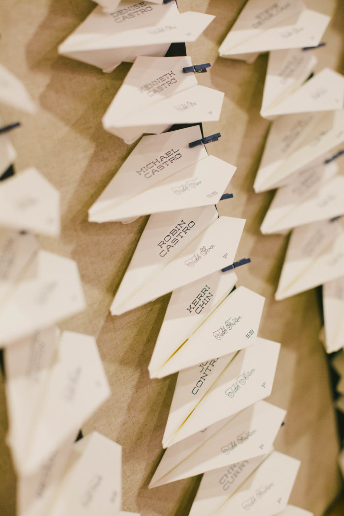 onelove photography couture events michelle chris wedding placecards paper airplanes