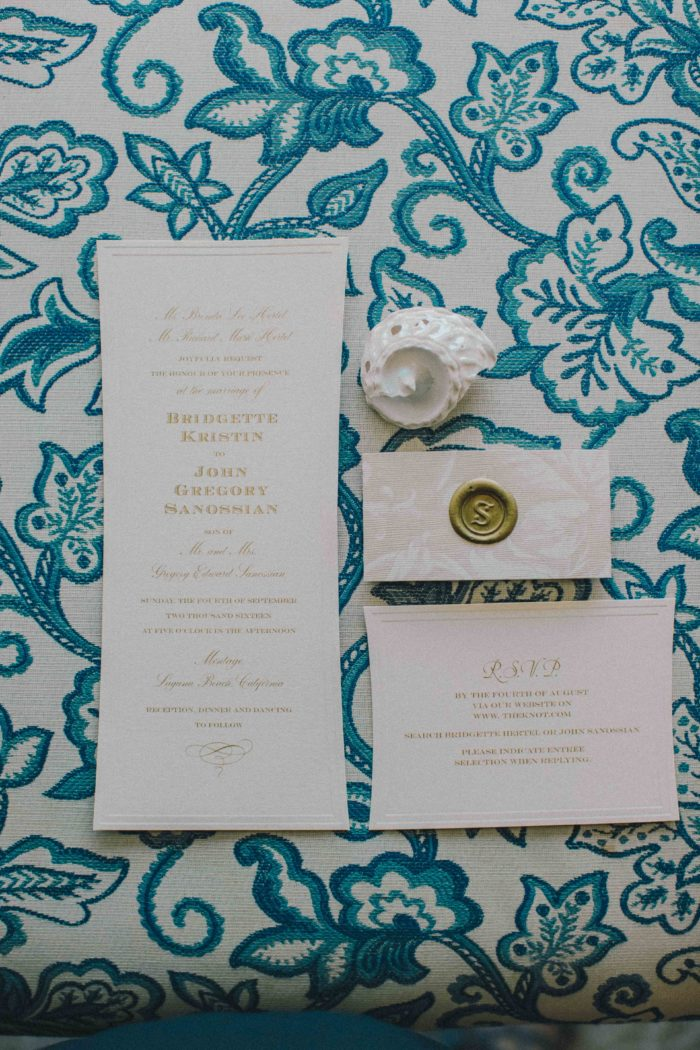 karla ticas couture events bridgette john wedding invitation suite montage laguna beach