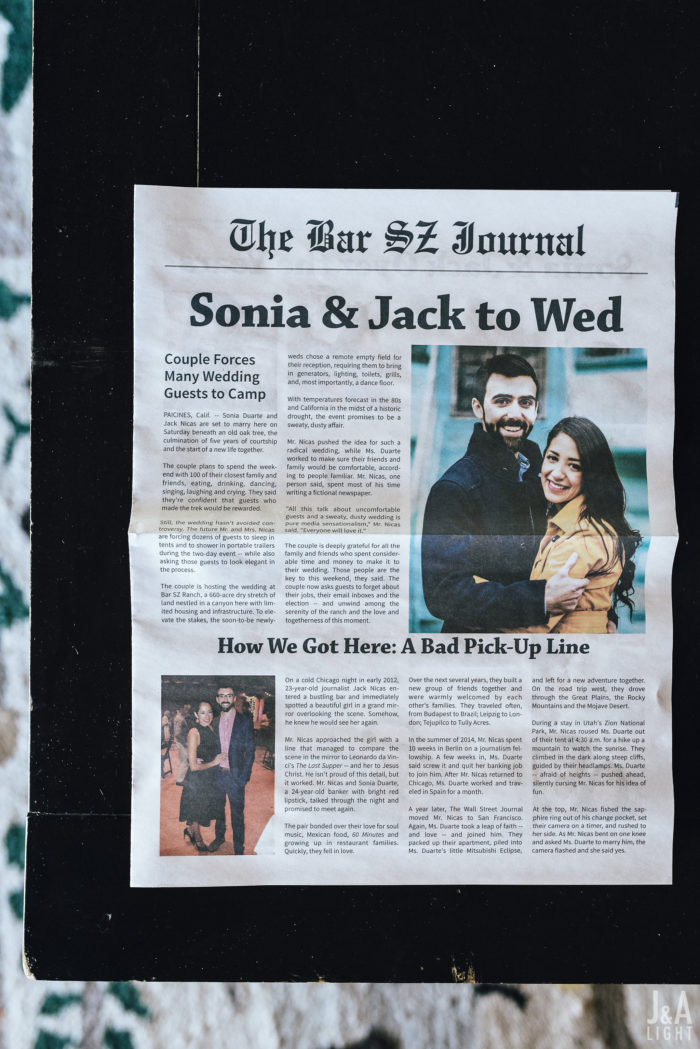 sonia jack JA Light bar sz ranch wedding couture events newspaper welcome paper